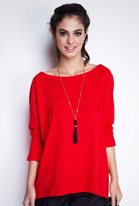 Blusa Básica Flamê Pequim Vermelha