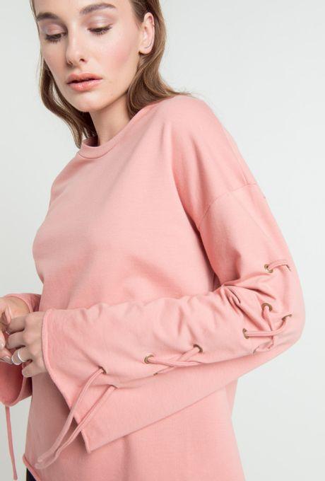 Moletom Serpa Manga Trançada Rosé