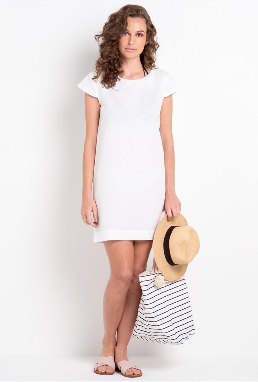 14f829c853 Vestido Branco Básico Nassau - Mobile