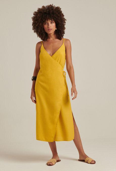Vestido Linho Cefalônia Amarelo
