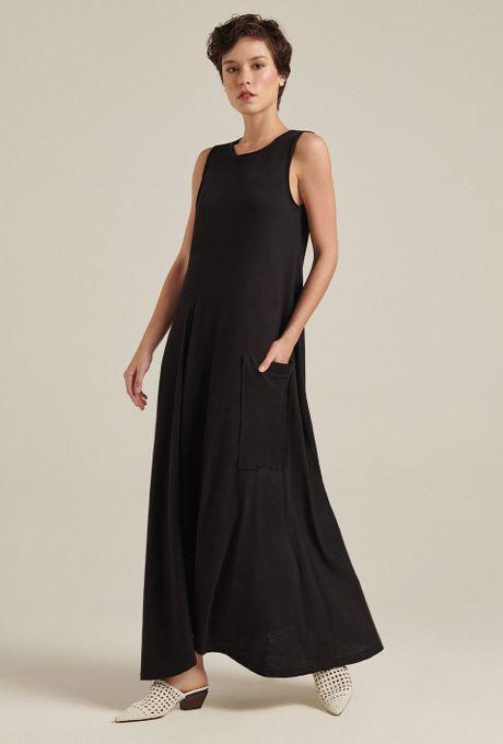 Vestido Longo Em Algodão Tropea Preto
