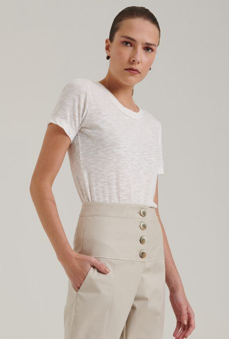 Blusa Flamê Slim Norcia Off White