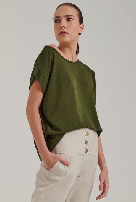 Blusa Tricot Asolo Manga Cavada Verde Militar