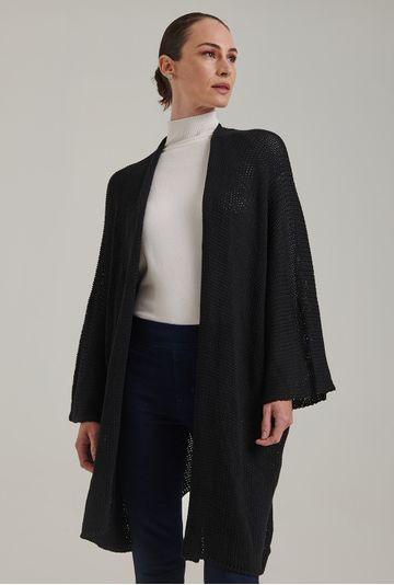 Casaco-em-tricot-amplo-e-aberto-Acores-na-cor-Preta-Frente