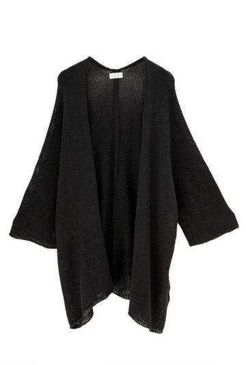 Casaco-em-tricot-amplo-e-aberto-Acores-na-cor-Preta-Still