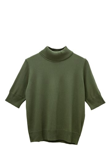 Blusa-em-Tricot-com-Gola-Alta-Daroca-e-Manga-Media-Verde-Militar-Still