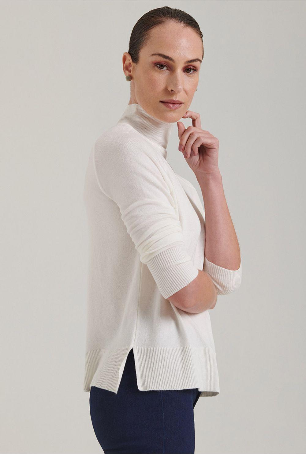 Blusa Em Tricot Matera Gola Alta Off White Mobile