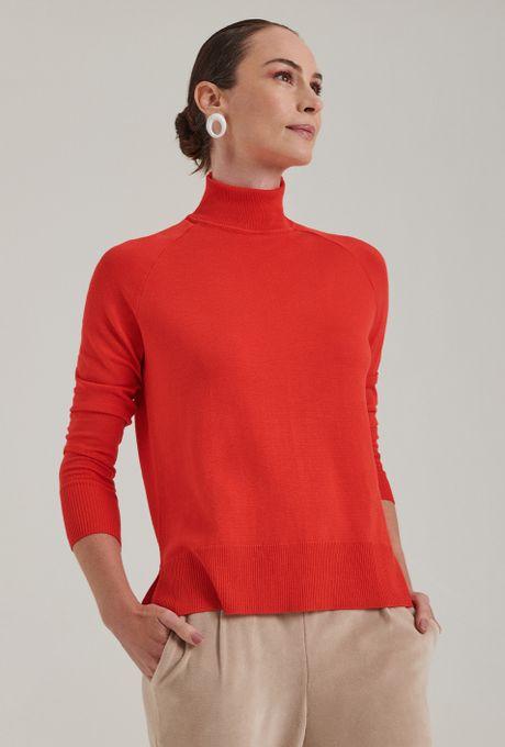 Blusa Em Tricot Matera Gola Alta Vermelha