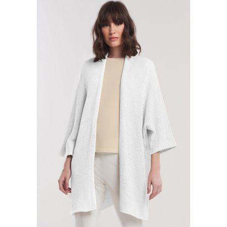 Kimono em Tricot Açores Oversized Alongado Off White