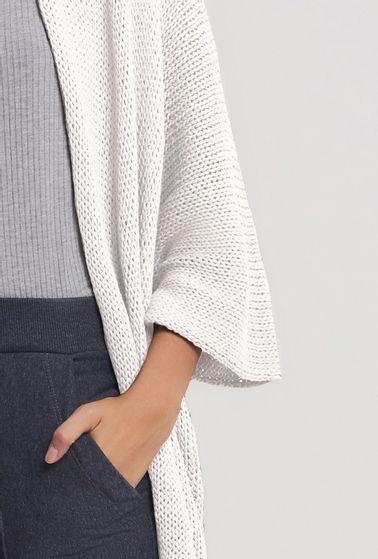 Kimono-em-Tricot-Acores-Oversized-Alongado-Off-White-Detalhe