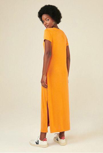 Vestido-Midi-Toulon-em-Modal-com-Fenda-Lateral-Acafrao-costas