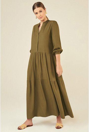 Vestido-Longo-em-Linho-Montefalco-com-Manga-Bufante-Verde-Militar-principal