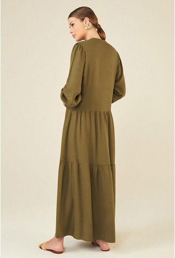 Vestido-Longo-em-Linho-Montefalco-com-Manga-Bufante-Verde-Militar-costas