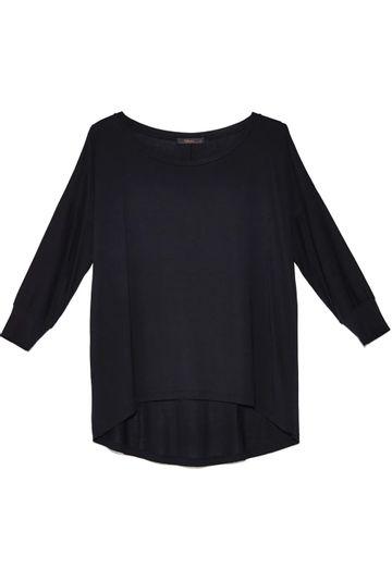 Blusa-Limoges-em-tecido-premium-com-meia-manga-e-modelagem-alongada-preta-still