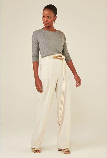 Blusa-Limoges-em-tecido-premium-com-meia-manga-e-modelagem-alongada-cinza-frente