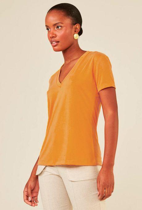 Blusa Decote V Em Modal Zalipie Açafrão
