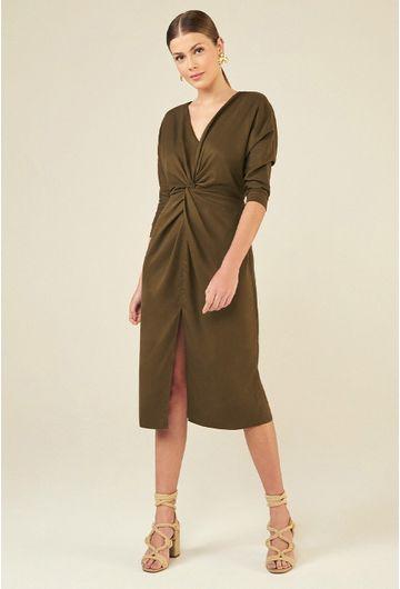 Vestido-Midi-em-Lyocell-Marselha-com-Fenda-Verde-Militar-principal