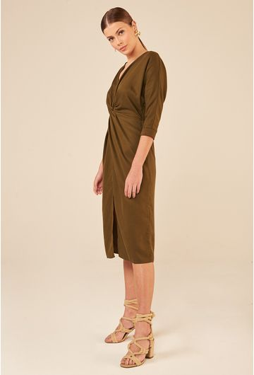 Vestido-Midi-em-Lyocell-Marselha-com-Fenda-Verde-Militar-detalhe