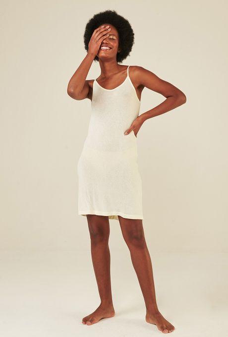 Vestido Combinação Curto Em Modal Oeiras Off White