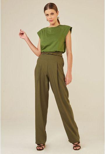 Calca-Pantalona-com-Bolso-Faca-em-Linho-Lommel-Verde-principal