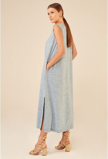 Vestido-Regata-Longo-em-Linho-Lokeren-Azul-detelhe
