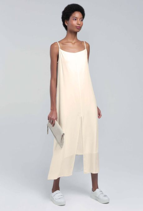 Vestido Midi Com Fenda Frontal Baunei Off White