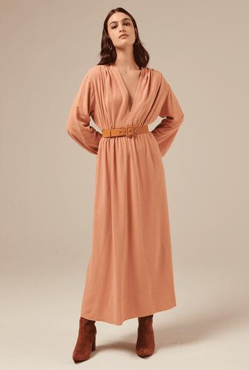 Vestido-Camrose-em-Linho-com-Manga-Bufante-Salmao-detalhe