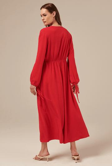 Vestido-Camrose-em-Linho-com-Manga-Bufante-Cereja-costas