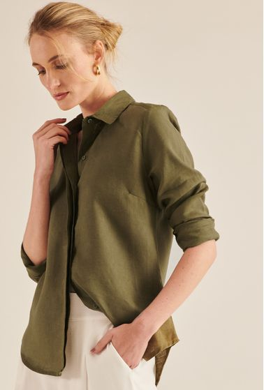 Camisa-Laponia-100--Linho-Verde-Militar-principal