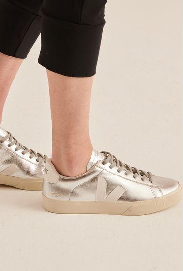 Tenis-Campo-Chromefree-Silver-White-Vert-Shoes-detalhe